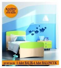Coart Çocuk Odası - KADİFE DUVAR STICKER BALIK 4 ADET BALIK 4 ADET BALONCUK