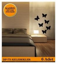 Coart Kadife Large - KADİFE DUVAR STICKER KELEBEKLER 6 ADET